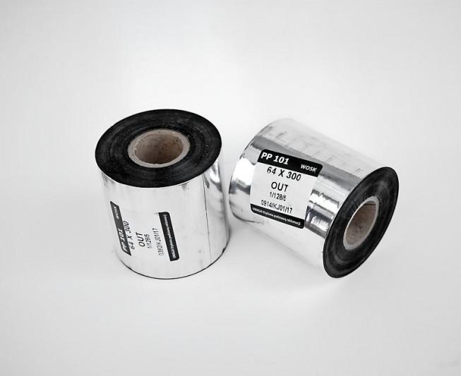 Taśma termo-transferowa woskowa 64x300 - Materiały eksploatacyjne - Do drukarek etykiet